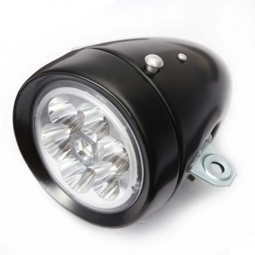 Misc Retro Black Battery Headlight 6-LED